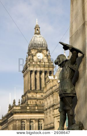 Statue Of St George In Front Of Leeds Town Hall Yorkshire, England