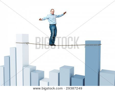 man on rope try to balance himself