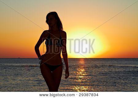Silhouette Of Woman On Sea Coast At Sunrise