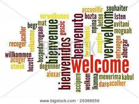 Willkommen Wort-Wolke in verschiedenen Sprachen