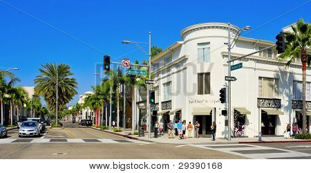 BEVERLY HILLS, US -  OCTOBER 16: Rodeo Drive on October 16, 2011 in Beverly Hills, US. There are more than 100 world-renowned boutiques in this area