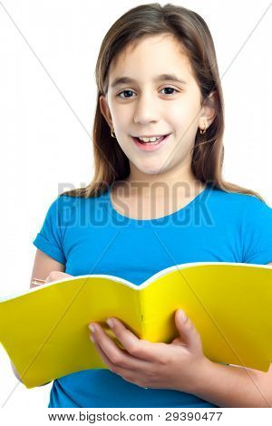 Beautiful hispanic girl taking notes on a school notebook isolated on white