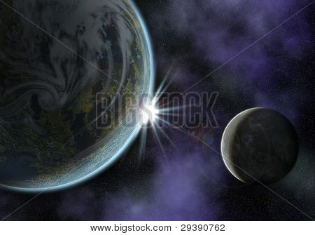 illustration of a space scene with planet and moon. the sun is about to rise