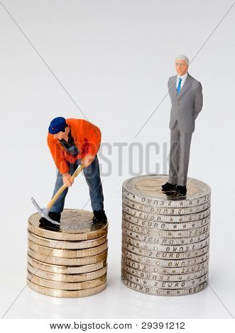 salary differences between workers and managers. both are on coins