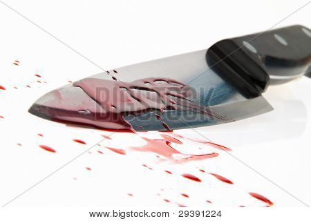 a knife smeared with blood. a murder weapon. symbolfoto crime