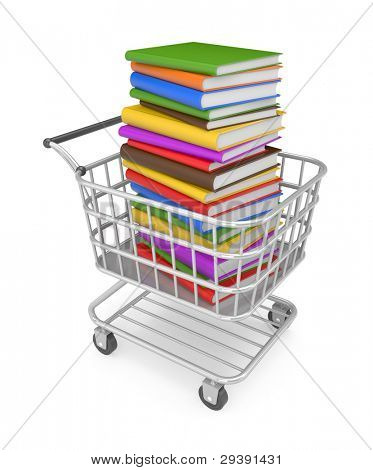 Shopping cart with book. Image contain clipping path