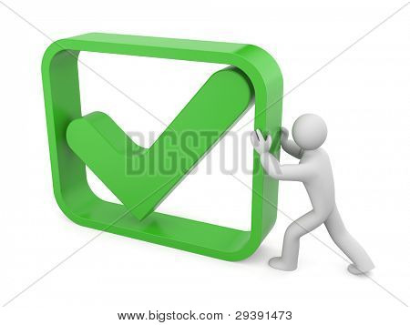Person with check symbol. Image contain clipping path