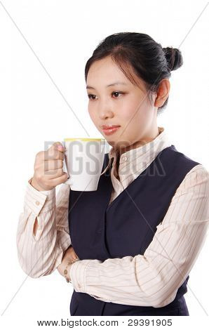 Young business woman enjoy coffee time.