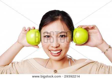 healthy woman holding green apple