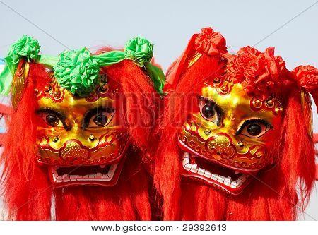 Traditionelle Chinesische Löwen tanzen für Celebration chinese New year