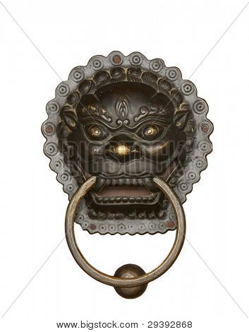 chinese religious dragon figure, often used on house door means protecting home.isolated on white background.