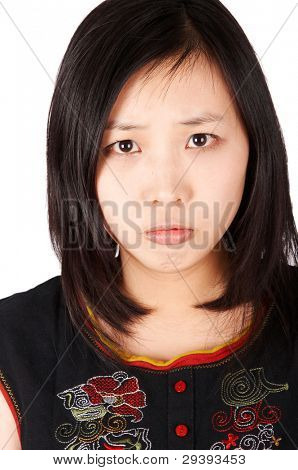 unhappy girl, isolated on white background.
