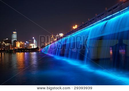 splendid bridge with colorful waterfall, China