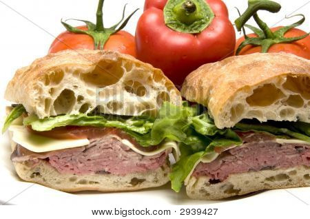 Roast Beef Boursin Cheese Ciabatta Bread Sandwich