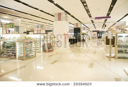 Interior of a modern shopping mall.