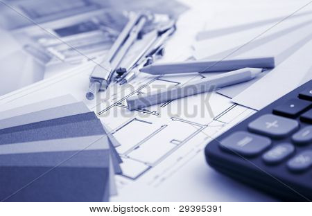 tools on interior decoration plan, blue tone
