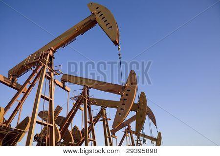 close-up of oil pump jacks.