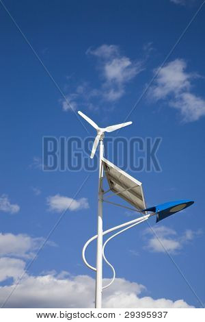 solar and  wind power lamp under clear sky
