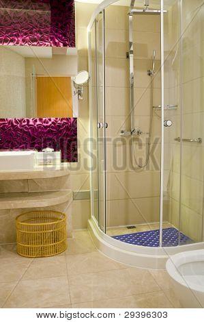 Bathroom with sliding glass screen