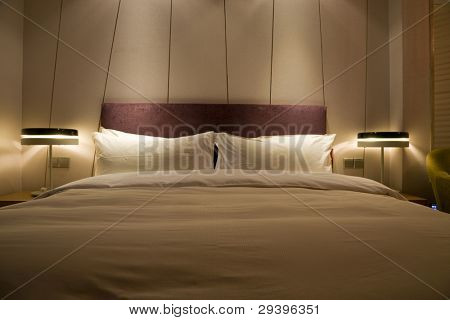 double bed at night