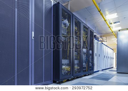 Server Internet Datacenter Room With Rows Of Modern Mainframes. Server Control Center For Internet P poster
