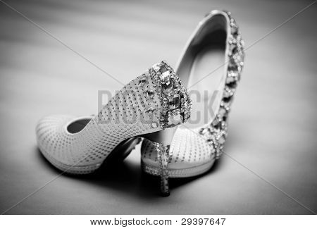 Bride's Wedding Shoes, black and white tone