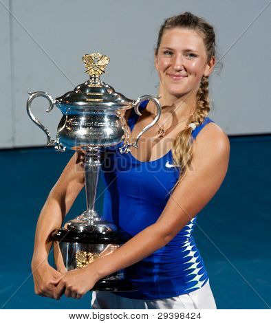 MELBOURNE - JANUARY 28: Victoria Azarenka of Belarus in her championship win over Maria Sharapova of Russia at the 2012 Australian Open on January 28, 2012 in Melbourne, Australia.