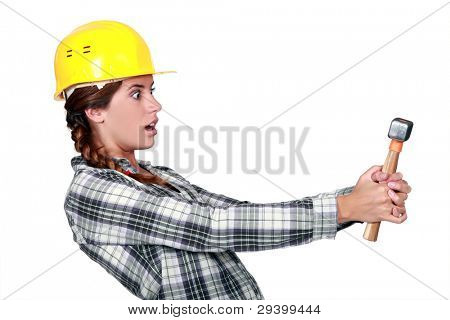 Woman caught with hands on deck