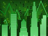 stock photo of nyse  - Stylized vector chart using buildings to imply rising wall street stock values - JPG