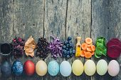 Easter Eggs Painted With Natural Egg Dye From Fruits And Vegetables. Homemade Naturally Dyed Easter  poster