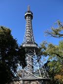 Petrin Lookout Tower Is A Tall Steel Framework Tower In Prague In Czech Republic. It Is Similar Of T poster