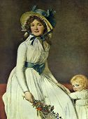 Постер, плакат: Jacques Louis David Portrait of Mrs Serizy Reproduction from illustrated Encyclopedia