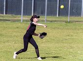 Skilled Teenage Softball Player Releasing A Quick Throw After Making A Defensive Catch In The Outfie poster