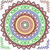 foto of mehendi  - Colorful Henna Mandala design - JPG