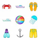 Boat Voyage Icons Set. Cartoon Set Of 9 Boat Voyage Icons For Web Isolated On White Background poster
