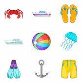 Boat Voyage Icons Set. Cartoon Set Of 9 Boat Voyage Icons For Web Isolated On White Background poster