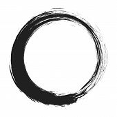 Vector Brush Strokes Circles Of Paint On White Background. Ink Hand Drawn Paint Brush Circle. Logo,  poster