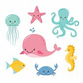 Cute Baby Sea Fishes. Vector Cartoon Underwater Animals Collection. Jellyfish And Starfish, Ocean An poster