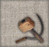 pic of hammer sickle  - Old tools on canvas - JPG