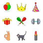 Excellent Performance Icons Set. Cartoon Set Of 9 Excellent Performance Icons For Web Isolated On Wh poster