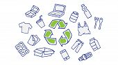 Recycling Hand Drawn Vector Illustration. Recyclable Things: Plastic, Cardboard Box, Bottles, Paper. poster