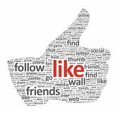 picture of follow-up  - Illustration of the thumb up symbol which is composed of words on social media themes - JPG