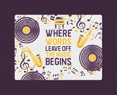 Musical Instruments Banner, Poster Vector Illustration. Music Concept With Vinyl Record, Saxophone.  poster
