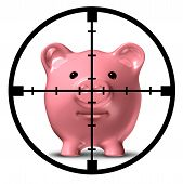 foto of safe haven  - Hunting for specials and aim to save symbol of finance represented by a pink piggy bank with an aiming weapon crosshair representing the safest and most profitable economic strategies for business and home - JPG