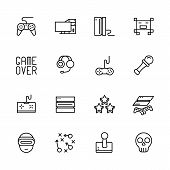Simple Icon Set Computer Games. Contains Such Symbols Game Joystick, Console, Server, Gaming Equipme poster