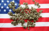 Marijuana. Cannabis. American Flag. Marijuana buds on an American Flag. Isolated on white. Room for  poster