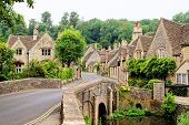 stock photo of quaint  - Picturesque Cotswold village of Castle Combe - JPG