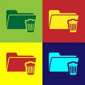 Color Delete Folder Icon Isolated On Color Backgrounds. Folder With Recycle Bin. Delete Or Error Fol poster