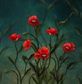 Surreal Poppy Plants With Eyes - 3d Illustration poster
