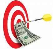 pic of marketing plan  - Bulls eye with dart and ten dollar bill pinned - JPG